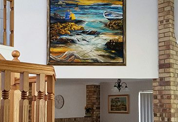 Bracken Ridge Brick Interior finds its style with Rustic-Beach Themed art commission