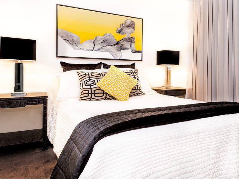 contemporary style artwork and bedroom
