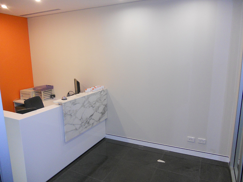 Corporate foyer before art with positive colour psychology