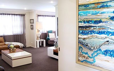Bracken Ridge foyer artwork takes home renovation from Asian, to Hamptons!
