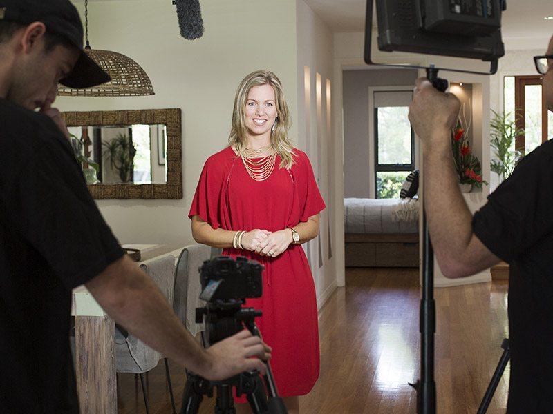 Tarryn Whitaker being interviewed