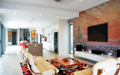 Mooloolaba canal home.  Australian themed murals and artworks