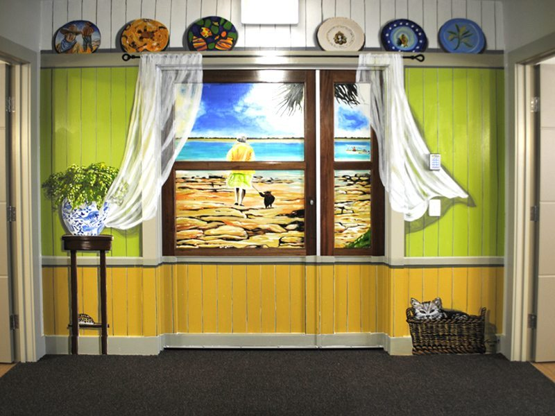 Aged Care Dementia Faux window hand painted mural