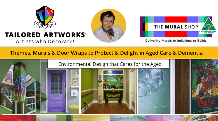 Story of Blue care Kenmore and their hand-painted murals for dementia by Brisbane artist and decorator, Sharron Tancred from Tailored Artworks