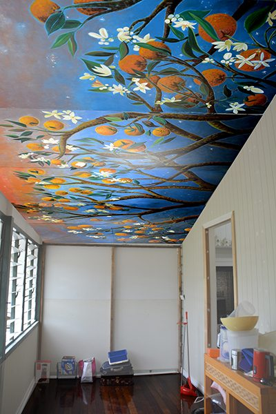 Orangerie Ceiling Mural panels for Queenslander renovation