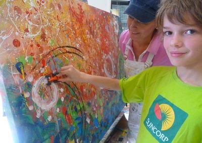 Brisbane artist and decorator Sharron Tancred, from Tailored Artworks explains the story of 10-year-old Aemon who paints a gallery quality artwork in personal art class with her, called My Super Duper Fab Art.