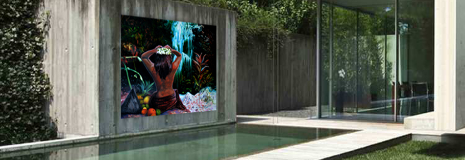 Unique woman by waterfall outdoor mural printed on metal above poo.l