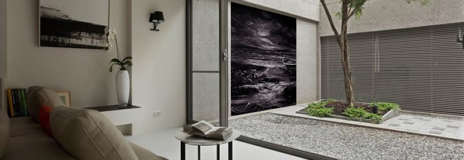 Black and white outdoor mural in residential courtyard