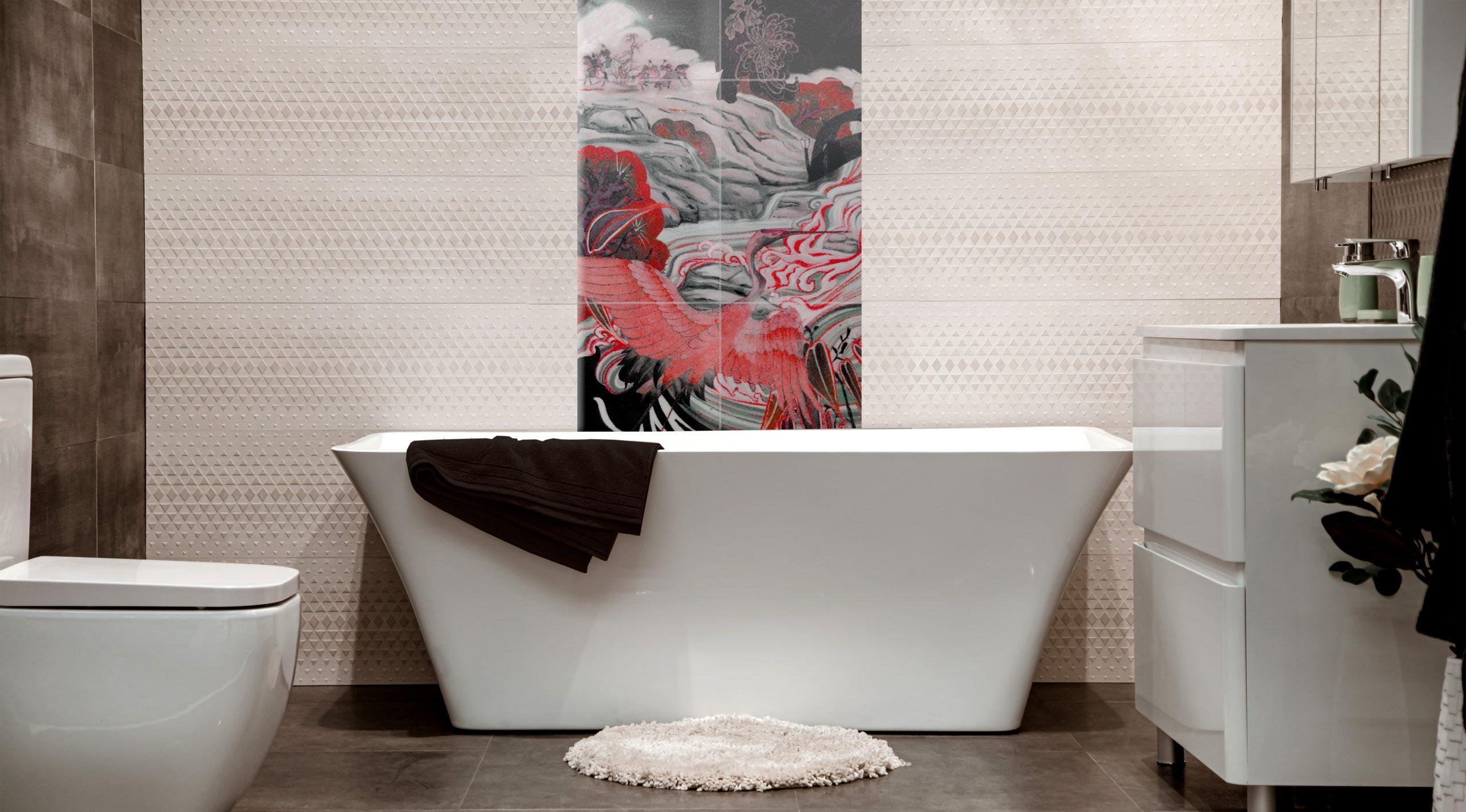 Japanese style tile mural above modern bath