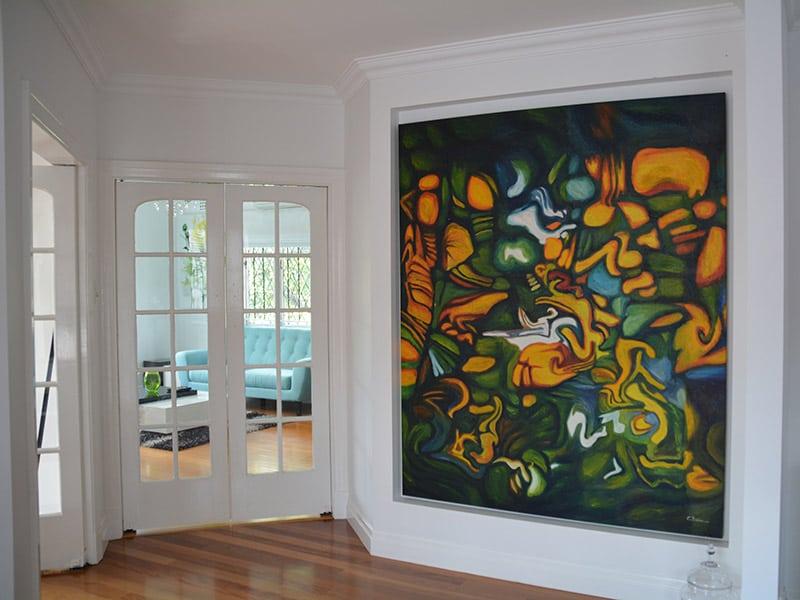 original foyer artwork for tudor style home