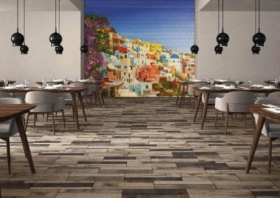 Santorini Restaurant - Tile Murals-ideas-for-restaurant-decor