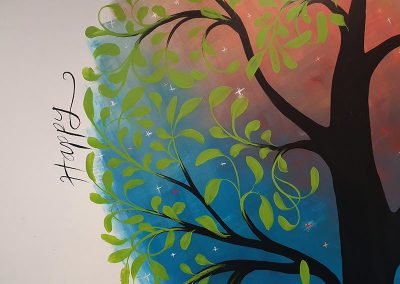 colour therapy tree mural