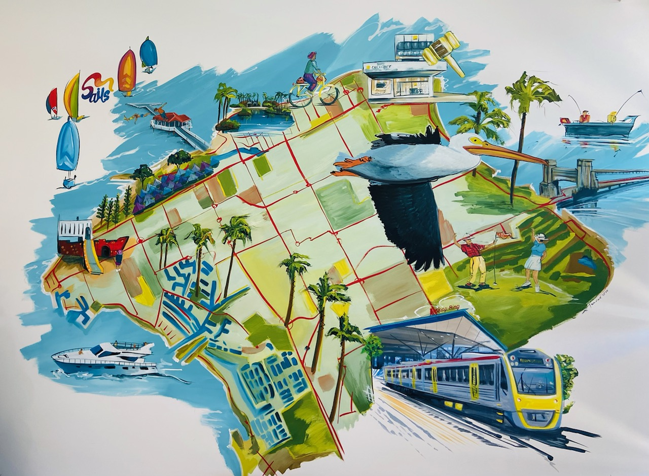 Ray White Woody Point Mural for Damien Misso by Sharron Tancred at Tailored Artworks