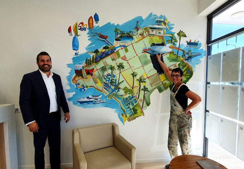 Hand-painted map wall murals