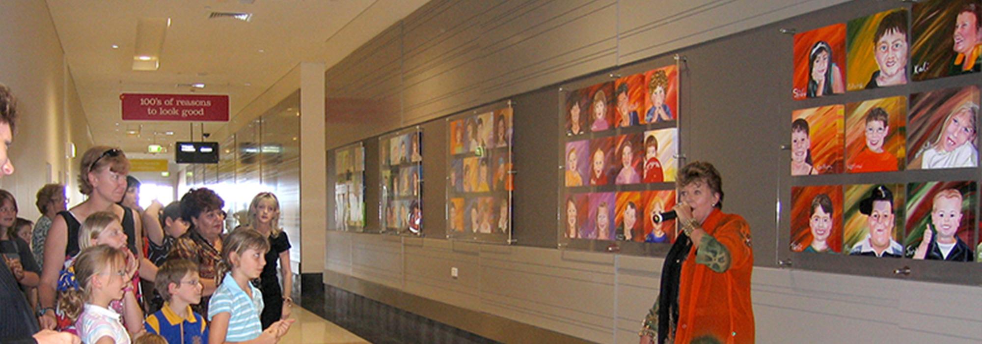 Banner-faces-of-westfield--children-shopping-art-by-Sharron-Tancred-@-TailoredArtworks
