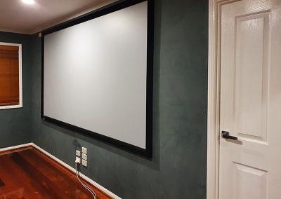 media room textured wall finish