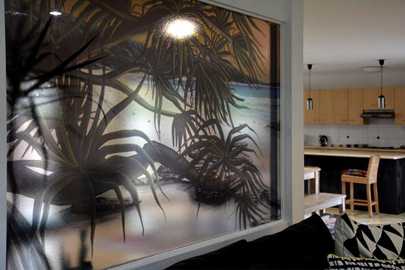 tropical home decor glass mural