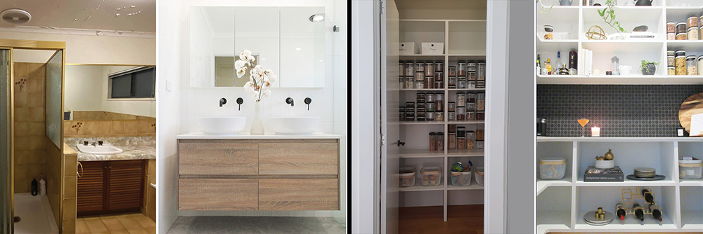Before and afters of bathroom and kitchen cabinetry renovations by Michelle Garwood from Tone & Texture Interior Design, Brisbane