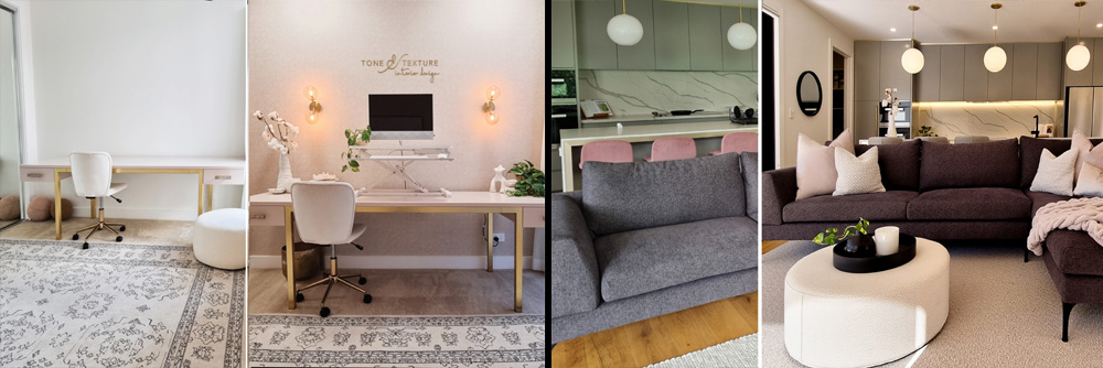 Michelle Garwood from Tone & Texture Interior Design. before and after examples of living area accessorizing